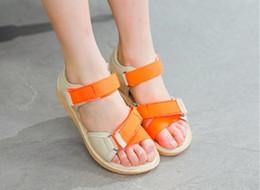 Wholesale Beach Bows - 2018 Summer New Girls Sandals Simple Princess Beach shoes Fashion Child Ribbon Beach Sandals