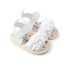 a1606e2605772 Newborn Baby Girls Flower Shoes Toddler Infant Soft Sole Shoes Summer  Sandals Pink White Blue