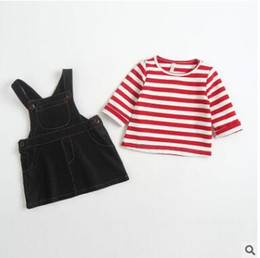 Wholesale Infant Girl Denim Dresses - Infants outfits Baby girls stripe long sleeve T-shirts+denim single pocket suspender dress 2pcs sets 2018 Spring Toddler kids suits C2511