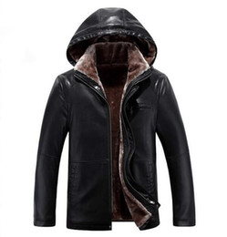 Wholesale Business Man Winter Coat Black - Wholesale-2017 New Business Leather Coat Winter Leather Jacket Men 's Hoodies Coat Casual Thickening