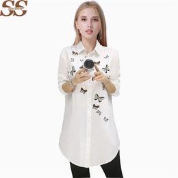 Wholesale Blusas Moda - White Blouse Women Shirt Long Sleeve Embroidery Embroidery Blouses Casual Tops Feminina Cotton Shirts Blusas Mujer De Moda 2017