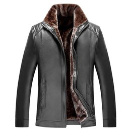 Wholesale Pu Leather Garment - Russian Winter Thick Leather Garment Business Casual Leather Jacket Lapel Cashmere Lined High Quality Warm PU Coat Big sizeM-4XL
