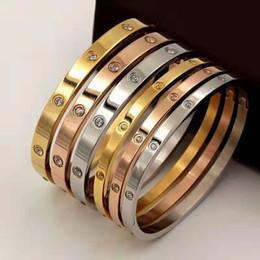 braccialetti a forma di oro Sconti Le donne degli uomini nuovi di zecca braccialetti di diamanti d'argento oro rosa 18 carati d'oro braccialetto di braccialetti 4mm 6mm coppia braccialetto polsino gioielli con scatola originale set