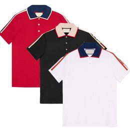 2019 diseño de bordado de polo Marca nueva moda de diseño clásico de lujo hombres polo camiseta bordado de la abeja de la serpiente para hombre polos diseño de bordado de polo baratos