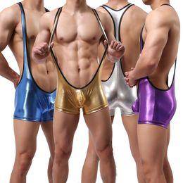 Hombres Shiny Wrestling Singlet Sexy Slim Leotardo Elástico Jumpsuit Clubwear Bulge Pouch Body Underwear Sports Underder Camiseta desde fabricantes