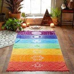 Wholesale Handmade Tapestries - Fashion Yoga Mat Tapestry Rainbow 7 Chakra Stripes Beach Towel Summer Wall Hanging Mandala Blanket Travel Sunscreen Shawl 150x75CM