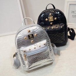 Wholesale Cell Phone Bag Pattern Free - Free shipping Fashion New Women Backpack High quality PU leather Girl Shoulder bag Crocodile pattern Rivet Travel mini Backpack