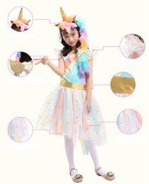 Wholesale rainbow costumes - Kids Girls Unicorn Outfit Tutu Dress Rainbow Party Princess Cosplay Costume Set with 1 Unicorn Corn Headband+1 Golden Wings BBA126