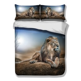 Wholesale lion print bedding set - Lion Duvet Doona Quilt Cover Set Queen Single King Size Animal Bed Pillow cases Free Shipping