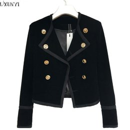 Wholesale Ladies Velvet Short Jackets - LXUNYI Hot Sale 2017 Autumn Women Velvet jackets And Coats Short Fashion Slim Thin Double Breasted Velvet jacket ladies Button