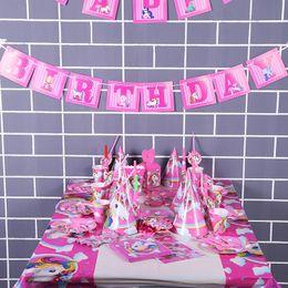 Hängende dekorationen für geburtstagsfeier online-141pcs Einhorn Geburtstagsparty Set Einhorn Party Supplies Set mit Einweggeschirr Cake Toppers, Party Hanging Decoration Kit