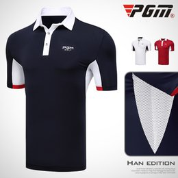Wholesale yellow sweat shirt - PGM Golf T-shirt For Men Breathable Brand Professional Summer Man's Sports T-shirt Anti-sweat Cotton Golf Clothing Polo