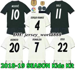 Wholesale white soccer shirt kids - 18 19 kids Real madrid Jersey Home away soccer Kits Adult RONALDO ASENSIO MODRIC BALE RAMOS ISCO NAVAS KROOS BENZEMA child Football Shirt