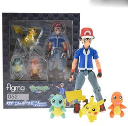 Wholesale Charmander Figure - New Figma 052 Ash Ketchum Pikachu Squirtle Charmander PVC Action Figure Collectible Model Toy Free Shipping