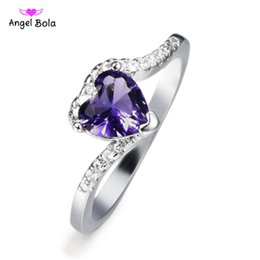 Wholesale indian silver jewellery set - Hot -sale 2018Purple Heart-shaped Women Wedding Ring Lady Gift Jewelry Size 6 7 8 9 Party Jewellery Simulated Zircon Silver Ring
