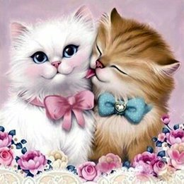 couple cartoon painting Promo Codes - DIY 5D Diamond Painting Couple Cat Bow Diamond Mosaic Cross Stitch Diamond Embroidery Art Full Rhinestone Holiday Gift Decoration