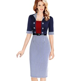 Wholesale Pencil Skirts Dresses Office - Wholesale-Women Elegant Business Suits Blazer with Skirts Formal Office Suits Work Tunics Work Wear Knee Length Pencil Dress