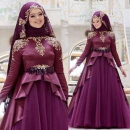 Canada Robes de soirée musulmanes avec foulard Satin à manches longues Applique Tulle balayage train plus la taille robes de bal robes robe de soirée Offre