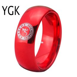 Wholesale alabama rings - YGK JEWELRY Alabama Design Ring 8MM Width Red Color Domed Tungsten Carbide Wedding Ring