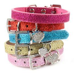 Wholesale Leather Diamond Dog Collars - Pet Bling Bling Leather Love Heart Crystal Diamond Pendant Dog Cat Pet Collar Necklace H1