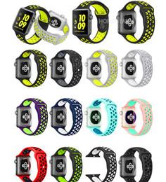 banda de goma reloj deportivo de apple Rebajas NUEVO 42mm 38mm Banda de silicona para reloj de silicona Correas para la muñeca deportivas Más correa para el orificio para Apple iWatch Series 1/2/3 Reemplazo