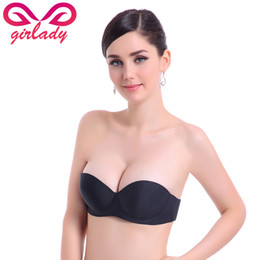 Wholesale Cup Bra For Dresses - GIRLADY Seamless Strapless Bra Women Invisible Push Up Bra Top Ladeis Brassiere Evening Dress Bralette Half Cup Bras For Women