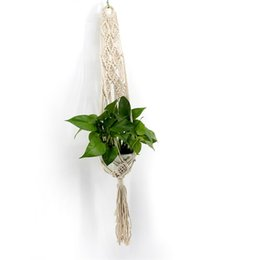 coats threads Promo Codes - Wall Hanging Planters Simple Basket Decorate Bohemia Net Botany Flower Pots Cotton Thread Handmade Weave Tapestry Pendant Tassels 15jj V