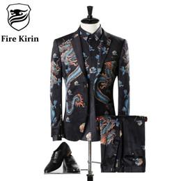 Wholesale Classic Mens Wedding Suits - Fire Kirin Mens Suits Wedding Groom Luxury Brand Chinese Dragon Vintage Velvet Suit Classic Men's Suit Prom Party Blazer Q304