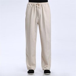 Wholesale Traditional Men Chinese Clothes - Shanghai Story Blend Linen Casual Pants Men's Pant Chinese Male Kung Fu Trousers Chinese Traditional Clothing for man