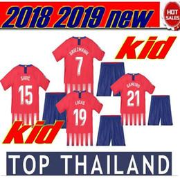 Wholesale cotton kit - 2018 2019 Thailand kids kit Soccer jersey F.TORRES GRIEZMANN KOKE GABI SAUL CARRASCO football uniform chandal maillot 18 19 child shirt