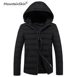 Термальные парки самец онлайн-Mountainskin Men's Winter Jacket Thick Warm Hooded Coats Men Thermal Parkas Male Slim Fit Jackets Men  Outerwears LA536