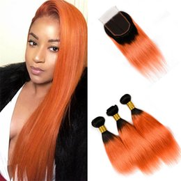 Wholesale Orange Hair Weave - Black to Orange Ombre Human Hair Bundles with Closure Dark Roots 1B Orange Ombre Peruvian Straight Virgin Hair Weaves with Closure