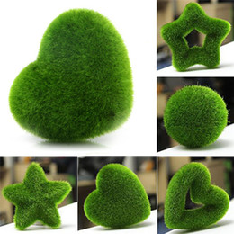 Wholesale artificial moss - 5 Shapes Fashion Artificial Fresh Moss Balls Green Plant Lovely Home Party Decoration Moss Ornament DIY