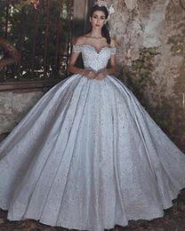 vestidos largos del vendaje de cristal Rebajas 2019 Vintage manga larga abalorios de cristal vendaje vestidos de novia sin espalda Glamorous por encargo del hombro cariño vestidos de novia