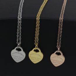 Für immer stahlschmuck online-3 Farben Silber Gold Edelstahl Luxus Brief Für Immer Liebe Herz Halskette Für Frauen Hochzeit Schmuck Großhandel