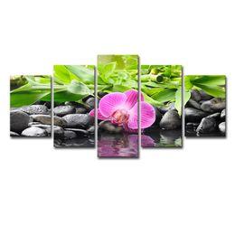 2019 pinturas de flores para sala de estar Canvas Pictures Modular Sala Decor Quadro 5 peças Pedras Bamboo Orchid Flores Paintings Impressão HD Wall Art Posters
