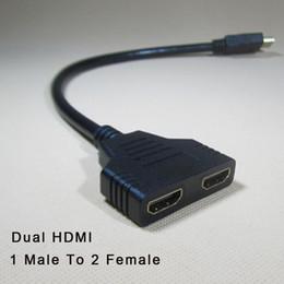 Nueva llegada HDMI cable divisor 1 macho a doble HDMI 2 hembra Adaptador divisor Y en HDMI HD LED LCD TV 30cm desde fabricantes