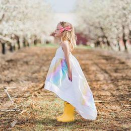 Wholesale Girls Rainbow Dresses - Retail Rainbow Dress 2018 Summer New Cotton Batch Baby Girl Slip Dress Children Clothing E812015
