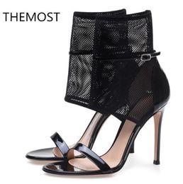 2020 tela de red sexy sandalias de verano de las mujeres 2018 tacones de las mujeres Súper Alta (8 cm-up) sandalias de tacón delgadas sexy decoración de tela Neta rebajas tela de red sexy
