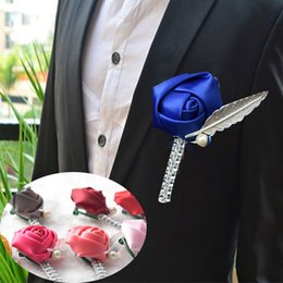Wholesale wrist corsage pink - Bridal Wedding Bouquet Brooch Pin Rose Boutonniere Wrist Bride Bridegroom Corsage Flowers Wedding Decoration