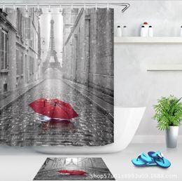 Deutschland Romantische Regenschirm Muster 3D Print Benutzerdefinierte Wasserdichte Badezimmer Moderne Duschvorhang Polyester Stoff Bad Vorhang Tür matte sets cheap bathroom curtain patterns Versorgung