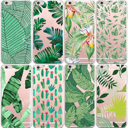 Wholesale Banana Phone Iphone Case - Soft Silicone Plants Cactus Banana Leaves Case For iphone X 6 6S 7 8 8Plus 7Plus Transparent Clear TPU Phone Back Cover