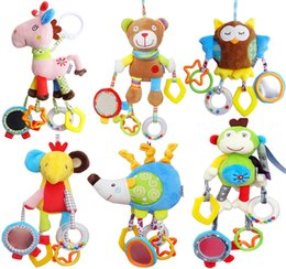 Wholesale Hanging Cart - new Baby educational puzzle Comfort dolls multi-function animal bed bell bed hanging plush toys cart pendant baby cloth dolls