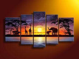 2020 handgemalte elefantenwandkunst Großhandels-handgemalte Wandkunst afrikanischer Elefantrotwild Hauptdekoration-modernes Landschaftsölgemälde auf Segeltuch 5pcs / set mixorde gestaltet günstig handgemalte elefantenwandkunst