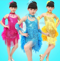 Wholesale Latin Ballroom Dresses For Competition - New 2017 Children Kids Sequin Feather Fringe Stage Performance Competition Ballroom Dance Costume Latin Dance Dress For Girls