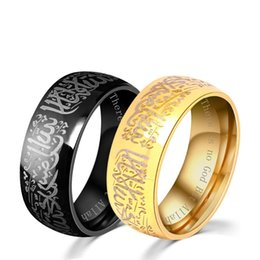 Wholesale God Black - 2018 Muslim Stainless Steel Ring For Women Men Islam Arabic God Messager Black Gold Band Muhammad Quran Middle Eastern fine rings DHL 080285