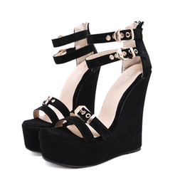 f186849d9ebe4 16cm super high heels black ankle strappy buckles platform wedge shoes  ladies summer sandals size 35 to 40
