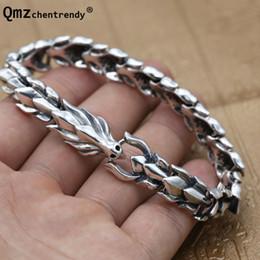 b734fdc19bd2 100% 925 pulseras de plata esterlina del dragón punky para las mujeres de  los hombres joyería de plata sólida hueso del dargon pulsera del brazalete  de la ...