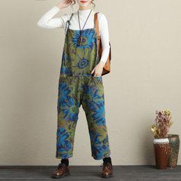 4522dab817f Cowboy Jumpsuits wide Leg Suspenders pants New original design Printed Drop  Crotch Denim Rompers big yards Jeans Women G081504