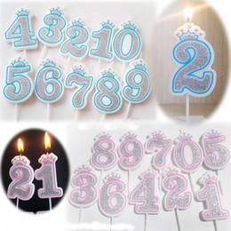 2019 decorazioni rosa corona 1 Pc Shinning Sliver Pink / Blue Crown Candele di compleanno per bambini Ragazze Ragazzi Numero di festa di compleanno Candele Cake Decorations (0-9) sconti decorazioni rosa corona